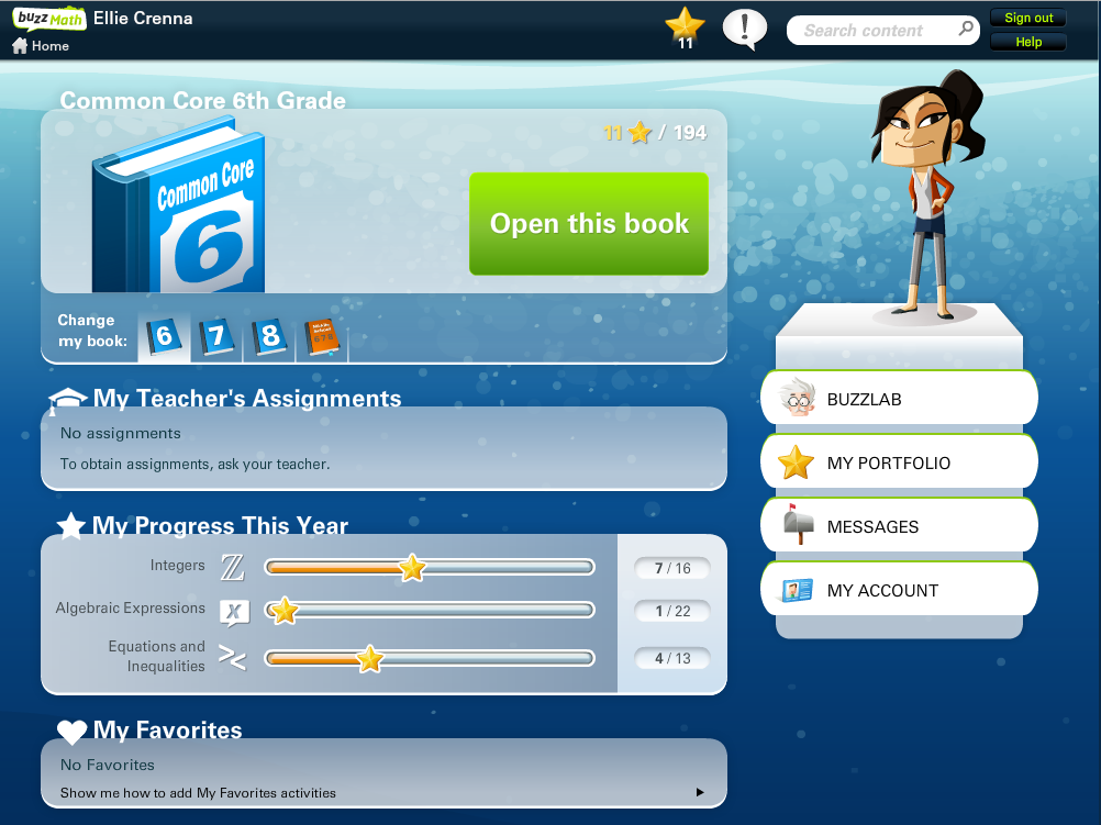 student home page gives kids an at a glance view of their progress by