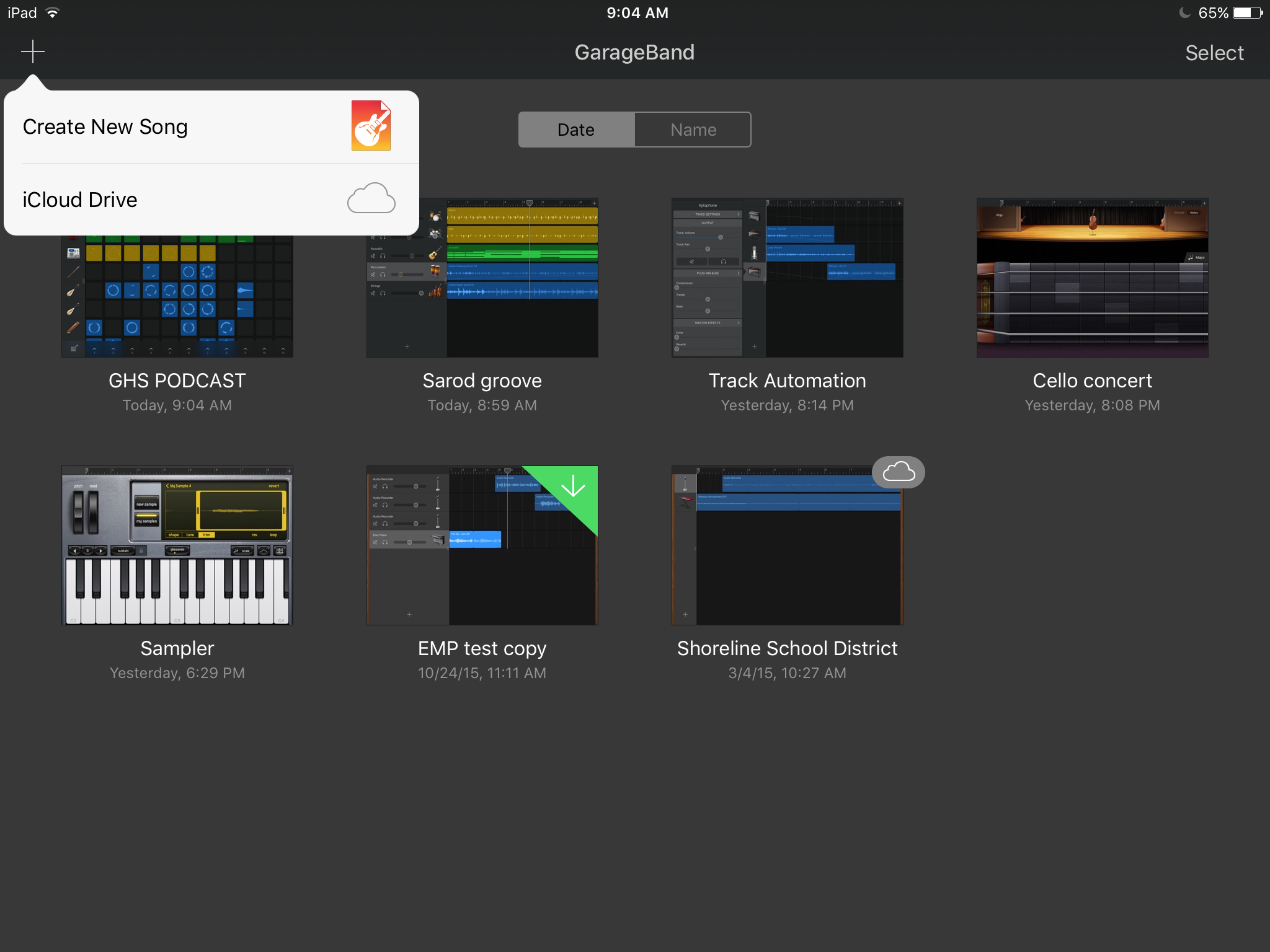 Garageband review for teachers common sense education the home screen all projects begin and live here baditri Images