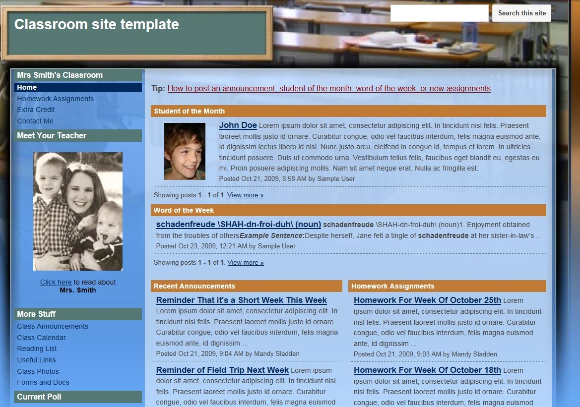 Google sites review for teachers common sense education the classroom site template is dense with layers of information such as student of the maxwellsz