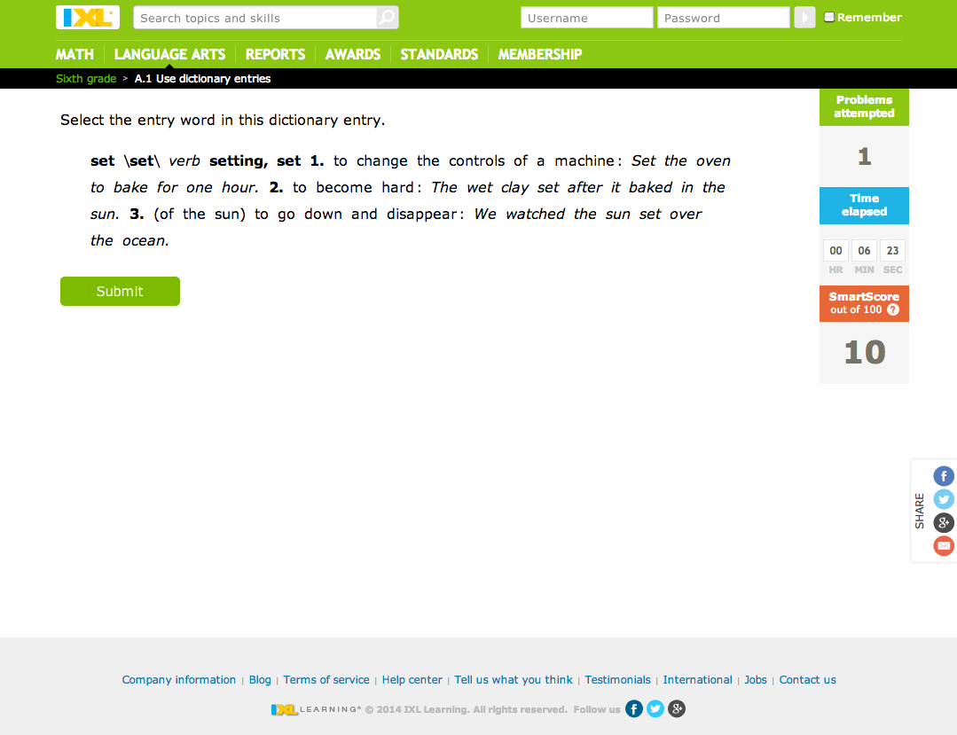IXL: Language Arts -- Sixth-grade skills Review for Teachers ...