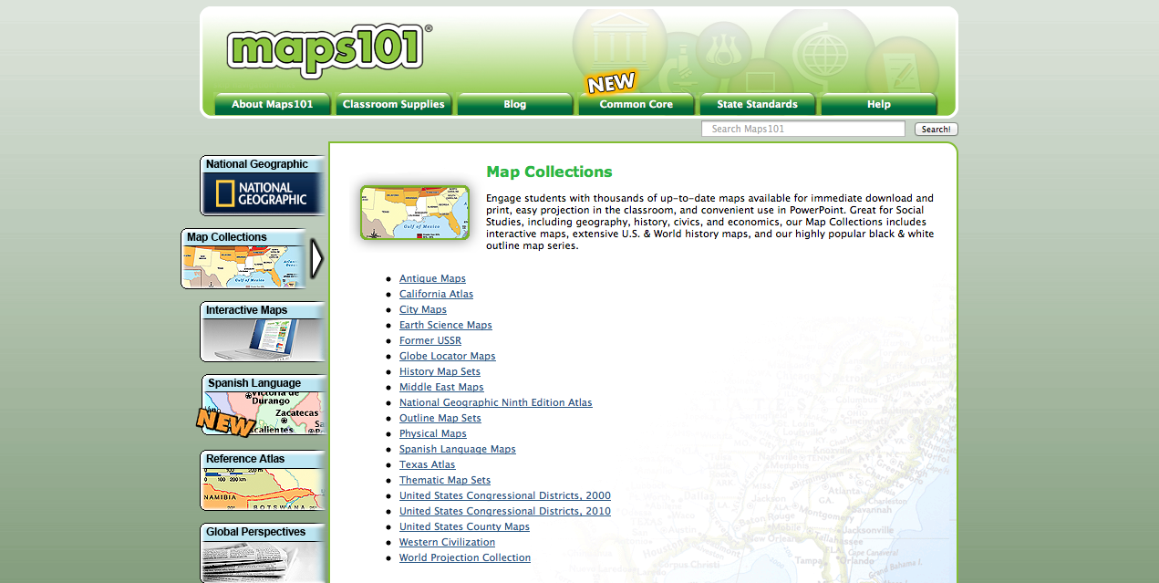Maps101 review for teachers common sense education map collections include antique maps maps in spanish regional and other maps gumiabroncs Choice Image