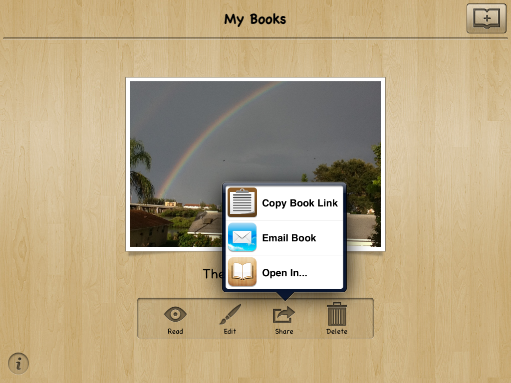 Edit pages as many times as you want then share via email or on ibooks