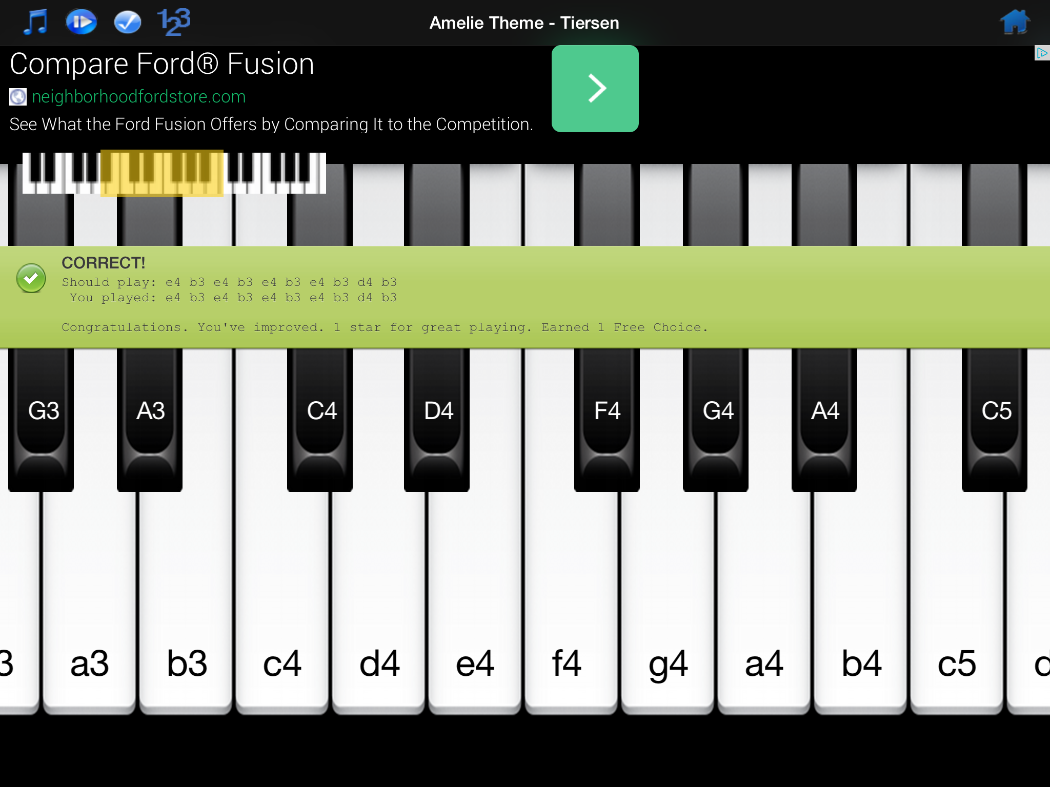 Piano melody free review for teachers common sense education a dialog box pops up after users play each selection displaying both the correct notes hexwebz Gallery