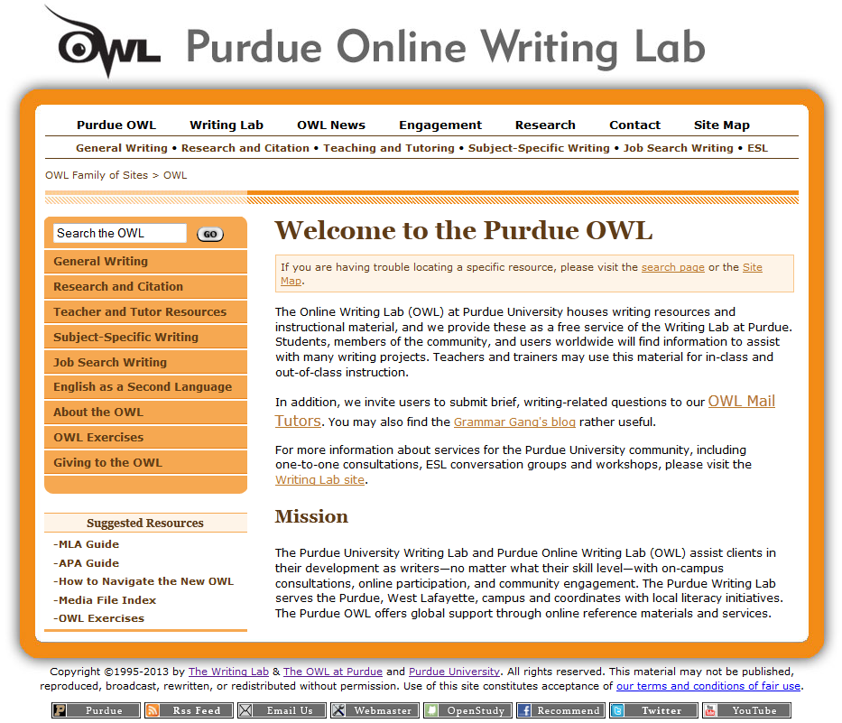 purdue owl mla essay citation Using modern language association (mla) format brought to you by the purdue university online writing lab purdue's owl also offers information about other citation.
