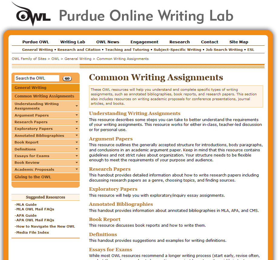 purdue online writing lab review for teachers  common sense education this page offers a useful overview of common writing assignments given to  both high school and