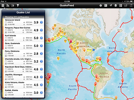 Quakefeed earthquake map alerts and news review for teachers kids can easily access details about global earthquakes gumiabroncs Gallery