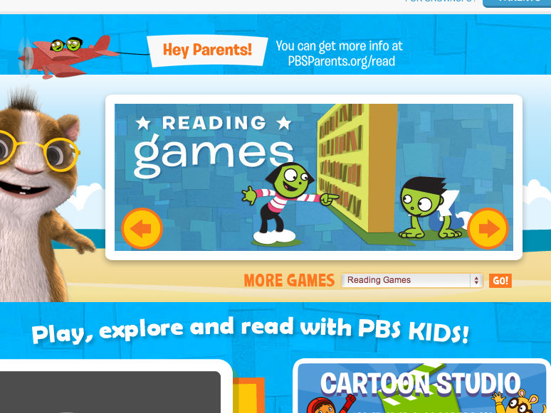 home page where kids choose where to go on their reading adventure - Kids Home Pages