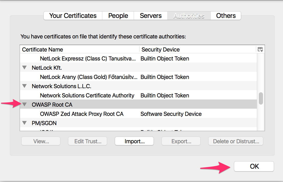 Verify that the certificate is imported