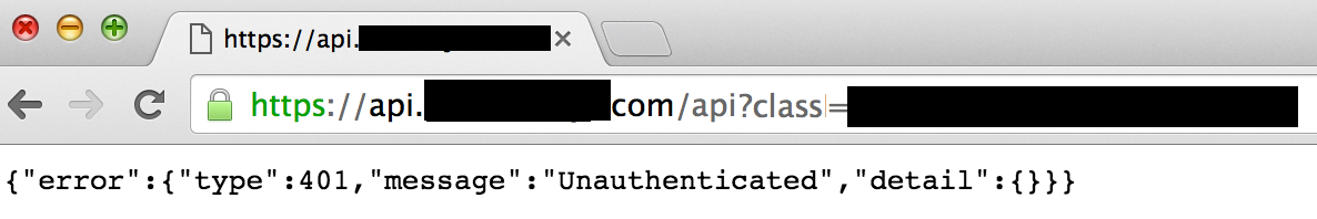 A response that shows the user is not authenticated, and cannot access information