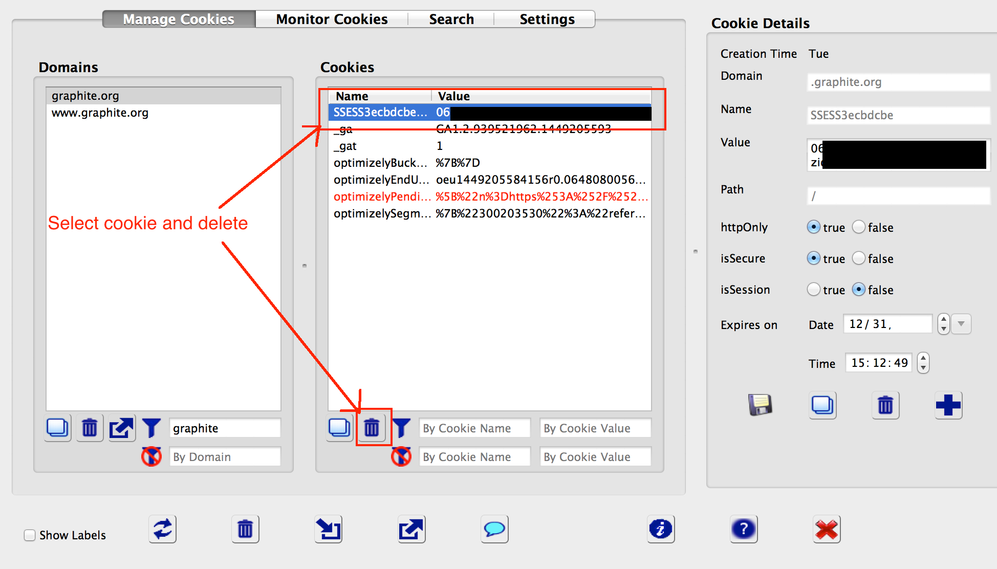 Deleting a cookie using Advanced Cookie Manager