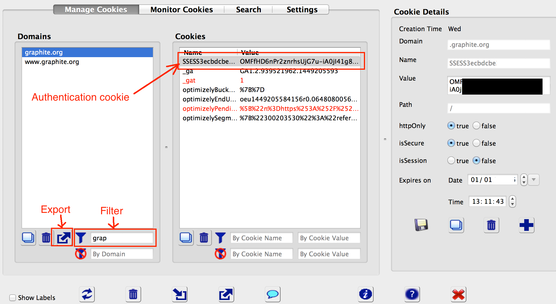 Using Advanced Cookie Manager to save cookies from a specific domain