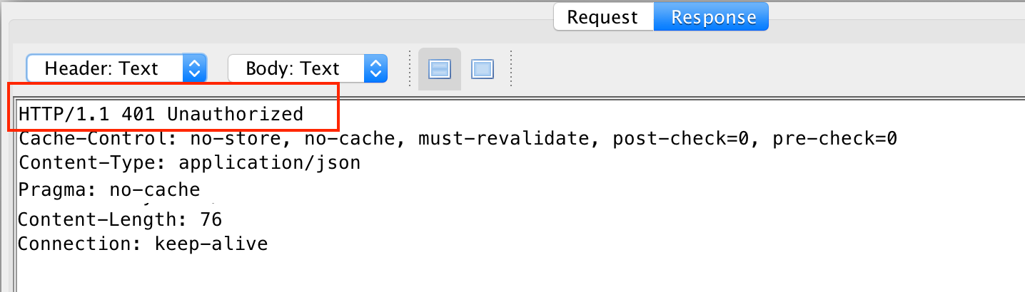 An access denied message to an API request, seen in ZAP