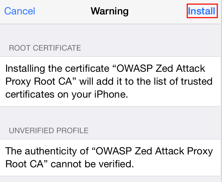 Warning message for OWASP ZAP Root CA