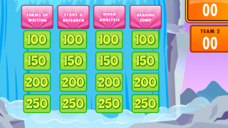 Players select point values from the grid to receive questions.