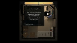 In the bedroom, players can choose to play on the computer. Most activities present a little text description that players can respond to.