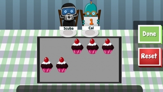 In this mini-activity, kids practice counting by giving each character a given number of cupcakes.