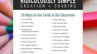Browse the website's list of 20 ways to use Tackk in the classroom.