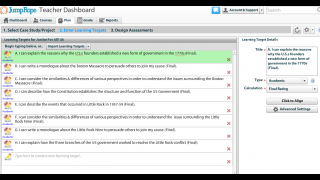 Enter learning targets in the planning tool and align to the Common Core standards.