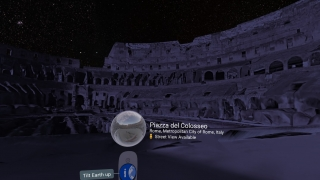 Stand in a 3D model of the Colosseum at night.