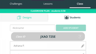 Teachers can check out lessons, see team designs, and add students via the dashboard.