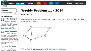 Here's an example of an NRICH Weekly Problem.
