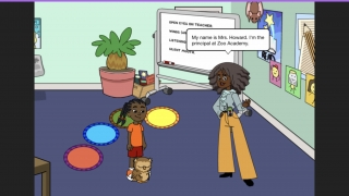After creating your avatar, you are introduced to Mrs. Howard, the principal of Zoo Academy.