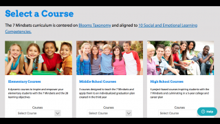 The home dashboard lets educators pick which course best fits the students they teach.
