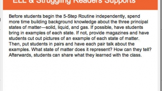 Teachers see suggestions for ELL-specific supports.