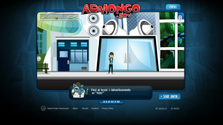 Players walk around the game interface looking for ads to learn about.
