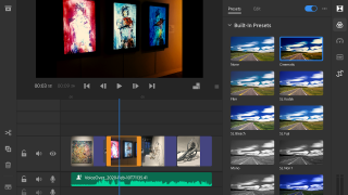 Use built-in presets to apply filters or narration to each slide.