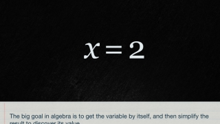 The app explains the overall concepts of algebra.