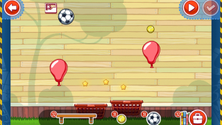 A user-created level involves two balloons, two baskets, a soccer ball, and a tennis ball.