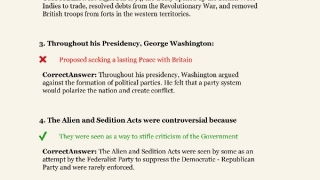 Quizzes covering periods of American history are self-scoring and includes explanations of answers.