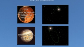 Students can touch a planet to watch its analemma.