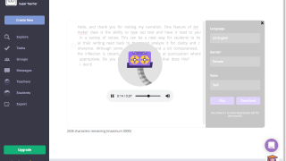 The narration feature reads aloud typed text.