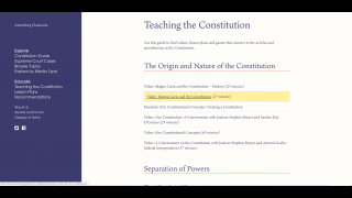 Resources in Teaching the Constitution are grouped by topics like Separation of Powers and Amendments.