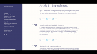 Timelines show how aspects of the Constitution have been applied over time.