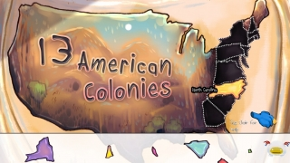 Kids must assemble a puzzle map of the 13 colonies.
