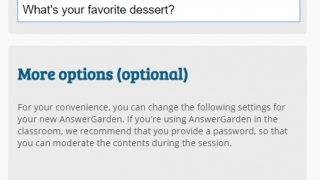 Creating an AnswerGarden is quick and easy -- no login or registration needed.