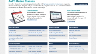 The online school offers a variety of courses.