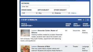 The site's 187 lessons can be easily searched by keyword or sorted by grade level, arts subject, or content area.