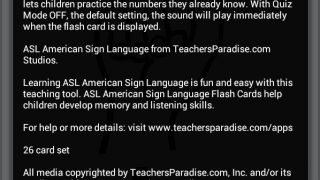 Instructions for using the ASL American Sign Language explain the minimal settings and refer to numbers that don't appear in the app.