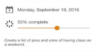 Assignment progress can be tracked by a slider bar.