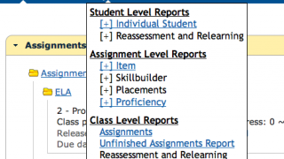 Teachers can view many forms of reports created from their students' work.