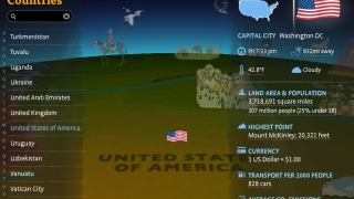 Tap on a country, and its flag, capital city, and relevant stats -- including real-time info -- appear.