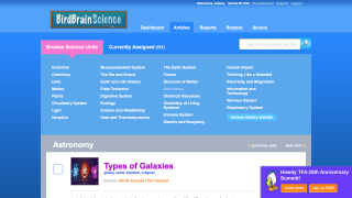 Articles represent diverse science topics; view by subject or search.