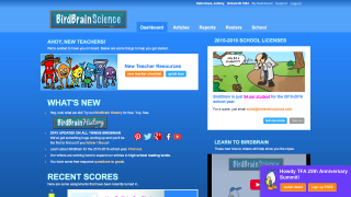 The teacher dashboard gives access to articles, assessments, and student data.