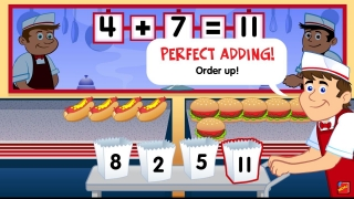 In Drive-Thru Diner Addition, players add the number of hot dogs and hamburgers made to fill each order.