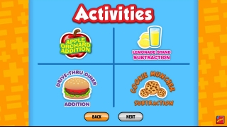 Players choose from 4 games: two addition and two subtraction.