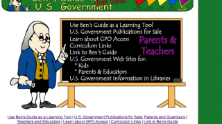 A section for parents and teachers includes links to government-published books and other items and sites from other government agencies.